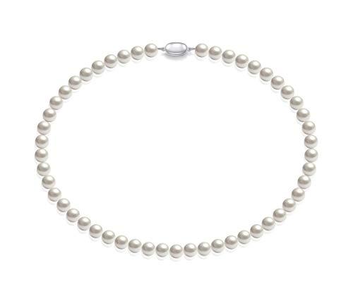 Schmuckwilly Muschelkernperlen Perlenkette Perlen Collier - weiß Hochwertige Damen Muschelkernperlen Kette aus echter Muschel 45cm 8mm mk8mm018-45