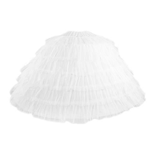 Haptian Vrouwen Bruidsjurk Super Grote Petticoat Vloer Lengte 6 Stalen Hoepels 6 Laag Garen Elastische Tailleband Crinoline Bal Jurk Onderrok (wit)