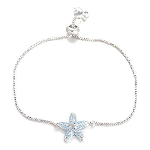 Mano Pulseras Brazalete Joyería Mujer Trendy Blue Zircon Charm Bracelet Cadena Ajustable para Mujer Pulseras De Estrella