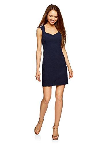 oodji Ultra Damen Basic Kleid aus Festem Stoff mit Herz-Ausschnitt, Blau, DE 32 / EU 34 / XXS