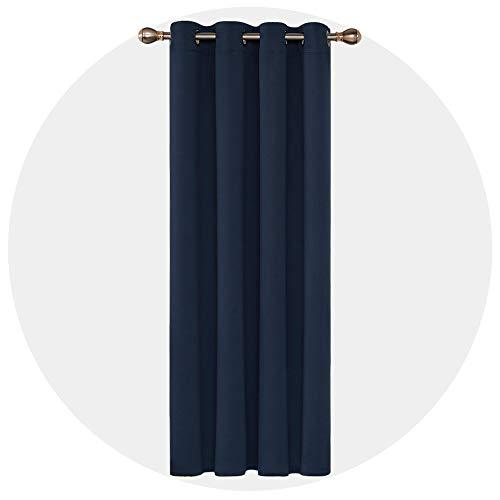 Deconovo Rideau Occultant à Oeillets 140x240cm Isolant Thermique pour Livingroom Bleu Marine