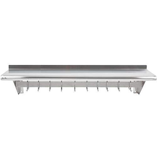 12 inch x 48 inch Stainless Steel Wall Mounted Pot Rack with Shelf and 18 Galvanized Hooks Storage shelf Garage storage shelves Food storage shelf Storage rack Kitchen shelves Bakers racks