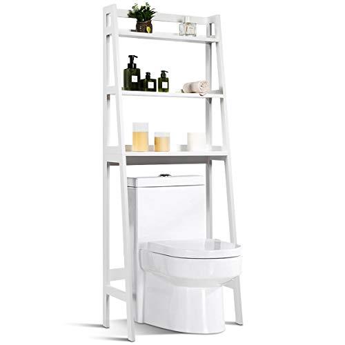COSTWAY Toilettenregal 3 Ablage, Badezimmerregal 20 Tragkraft, Waschmaschinenregal WC-Regal Badregal...