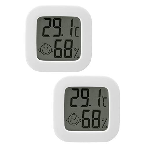 Flintronic Higrometro Digital Termometro, 2Piezas Mini Termómetro interior del higrómetro, Pantalla LED con Logo de Confort, para Termometro Ambiental para Oficina Habitación de Bebé Jardín (Blanco)