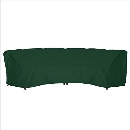 Fundas para Muebles de jardín al Aire Libre Muebles de ratán Fundas Protectoras de sofá Curvo Juego de sofá de Media Luna Impermeable (Color: Verde, Tamaño: 305x99x91cm)