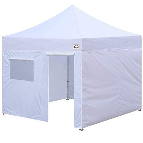 10' x 10' Canopy Kit, Includes 4 Sidewalls One with Door and Window, 4 Weight Bags, Spike & Rope, Roller Bag, White