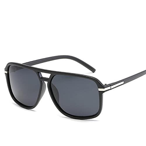 Secuos Moda Gafas De Sol De Gran Tamaño Hombres Gafas De Espejo Polarizadas Gafas De Sol De Conducción Hombre Diseñador De La Marca Gafas De Sol Retro del Conductor 03Sandblack-Grey