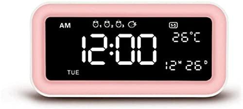 LFERRTYZ Reloj Despertador Digital Multifunción Led Espejo Regulable Reloj de Mesa con repetición Digital Despertar con Sistema de 3 semanas de Trabajo Puertos de Carga de teléfono USB Dual-Rosa