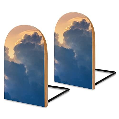 Beautiful Clouds Stabile Buchhalter Holz Buchstützen für Regale Büro Bücherständer rutschfeste Buchstützen für Bücher Filme CDs 3x5x3,7 Zoll (1 Paar/2 Stück)