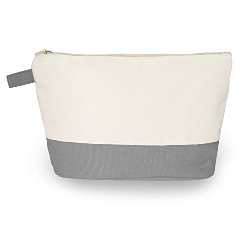 "Cotton Canvas Two-Tone Cosmetic Bag Make Up Clutch Bag (10""W x 6""H), Gray Canvas Bottom) New York"