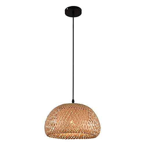 ZR Araña de bambú Tropical lámpara de Pantalla de Mimbre DIY Tejida lámpara Colgante Redondo marrón