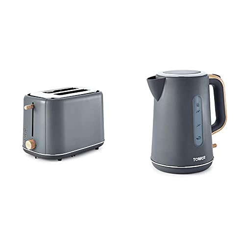 Tower Scandi T20027G 2-Slice Toaster with Adjustable Browning Control, 7 Toasting Functions, 800 W, Grey with Wood Accents & Scandi T10037G Kettle with Rapid Boil and Boil Dry Protection, 1.7 L, Grey