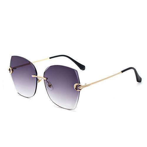A-myt Personalidad, Chic Gafas de Sol de Borde de Diamante sin Montura Grande Marco Moda Metal Metal Hoja de Océano Señoras Gafas de Sol de Moda Proteja los Ojos del daño (Color : Blue)
