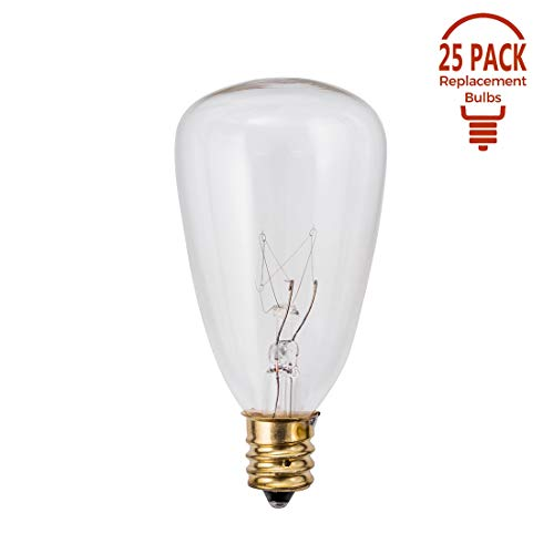 25 Pack - Clear ST35 Bulbs for Patio String Lights Fits E12 and C7 Base 7 Watt, for ST35 and G40 Replacement Bulbs for Patio Lights