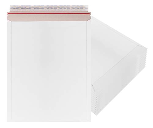 AMZ Supply Rigid Mailers 12.75 x 15 Paperboard mailers 12 3/4 x 15 by Amiff. Pack of 10 white photo mailers. Stay Flat mailers. No bend, Self sealing. Document chipboard envelopes. Mailing, shipping.