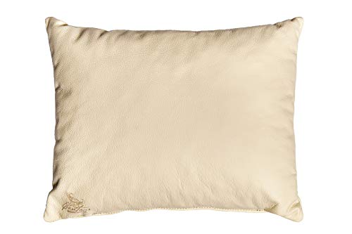 Centaur - Deko Lederkissen 50 x 40 cm für Sofa oder Schlafzimmer Champagner / beige - Echt Leder Kissen Echtleder Sofakissen Lederoptik