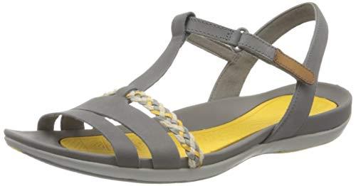 Clarks Damen Tealite Grace T-Spangen Sandalen, Grau (Grau Grey Nubuck), 42 EU