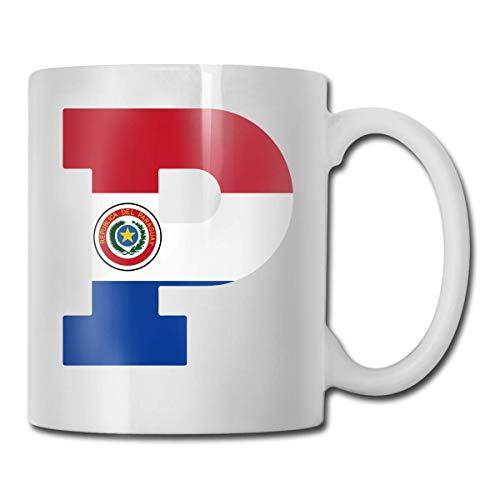 Afrikaanse Rhino Schilderijen Koffiemok, 11 Oz Koffiemok, Grappige Koffiemok Thee Beker, Nieuwigheid Verjaardagscadeau Ideeën voor Mannen Vrouwen Eén maat Paraguay Vlag P Brief