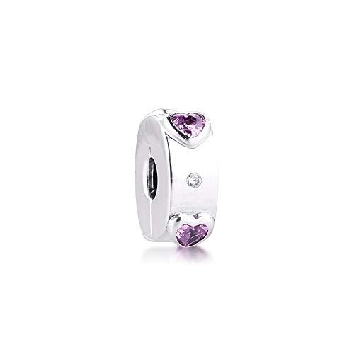 WUXEGHK Charms 925 Silver Original Fit Pandora Pulseras Plata De Ley Explosion of Love Clip Charm Beads para DIY Mujeres Jewlry