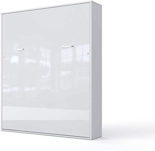 Schrankbett Wandklappbett V-Bett Wandbett Bettschrank Funktionsbett Vertical Gästebett Klappbar Schrank mit integriertem Klappbett Gästezimmer Wohnzimmer Schlafzimmer 160x200 (Weiß/Weiß Glanz)