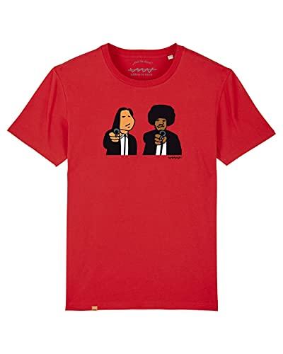 Cencibel Smart Casual Camiseta Callate La Boca Roja Pulp Fiction (M)