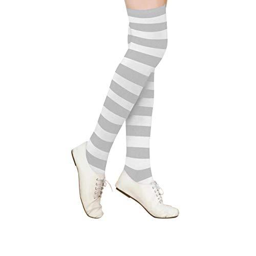 CHIC DIARY Overknee Strümpfe Damen Mädchen College Cheerleader Kostüm Streifen Kniestrümpfe Fußball Sport Strumpf