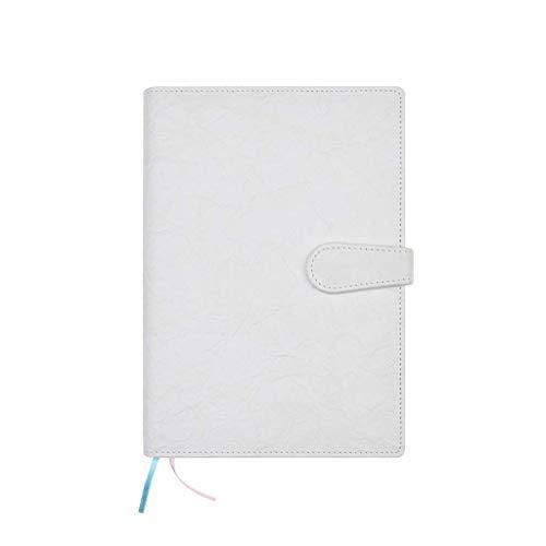 MLOZS Cuaderno de diario de piel A5, simple cuaderno de negocios, cuaderno con hebilla, trabajo de oficina, reunión de trabajo, cuaderno de notas exquisito, papel grueso premium (color blanco)
