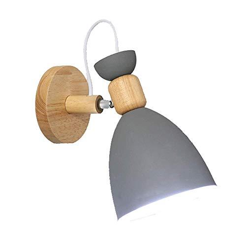 ZHCSYL Lámparas de pared Lámpara de pared LED, minimalista interior 1-Luz plug-in lámpara de pared, lámpara de cabecera decorativo, pared giratoria del accesorio ligero, con base metálica y de madera