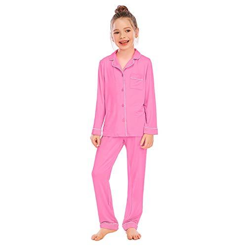 inlzdz Niña Pijamas Ropa de Dormir Conjunto de Pijamas 2 Piezas Camiseta Manga Larga + Pantalon Largo