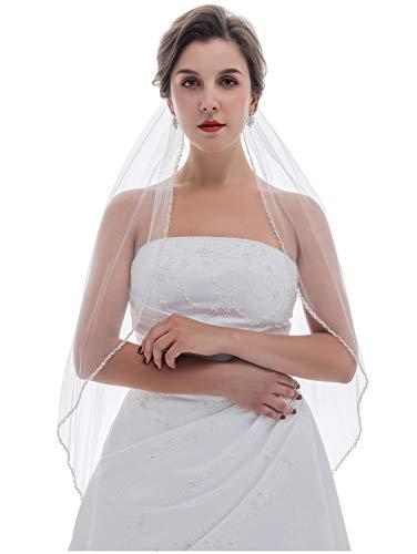 "1T 1 Tier Double Row Wavy Pearl Crystal Edge Veil - White Elbow Length 30"" V486"