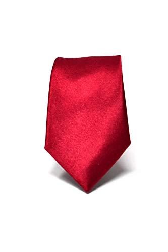 Oxford Collection Corbata de hombre Rojo Burdeos Delgada - 100% Seda -...