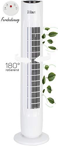Turmventilator | Ventilator | Oszillierend | 3 Stufen | Fernbedienung | Tower-Ventilator | Standventilator | Säulenventilator | Luftkühler | Weiß | Bodenventilator | Timer | Leiser Betrieb |