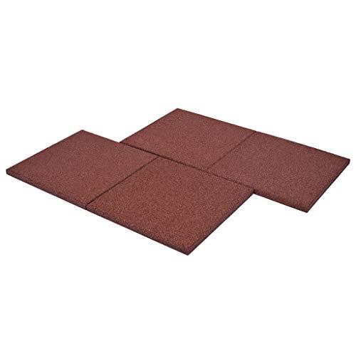 vidaXL 6x Fallschutzmatten Gummi Rot Fallschutzplatten Bodenmatten Spielplatz - 4
