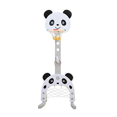 LYDREAM Canasta Baloncesto, Baloncesto Niño, Canasta De Baloncesto, Forma Panda del Aro De Baloncesto For Niños, 3 En 1 For Niños Pequeños Juguetes, Altura Ajustable, Ideal For Sala (Color : White)