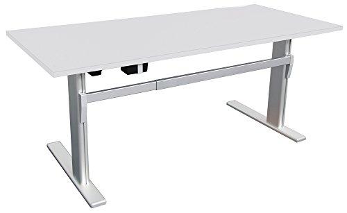 Schreibtisch höhenverstellbar in Lichtgrau Ergonomisch Elektrisch B 160 cm x T 80 cm Bürotisch Arbeitstisch | elektrisch höhenverstellbarer...