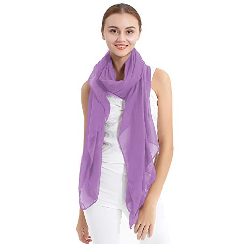 LMVERNA Ladies Cotton Scarf Solid Color Hair Scarf Fashion Large Sheer Shawl Wraps for Evening (Lavender)