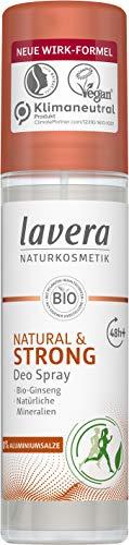 lavera Deo Spray NATURAL & STRONG 48+ h - vegan - Naturkosmetik - Bio-Ginseng & Natürliche Mineralien - Zuverlässiger Schutz für empfindliche Achselhaut -ohne Aluminium - 48 Stunden Deo Schutz - 75 ml