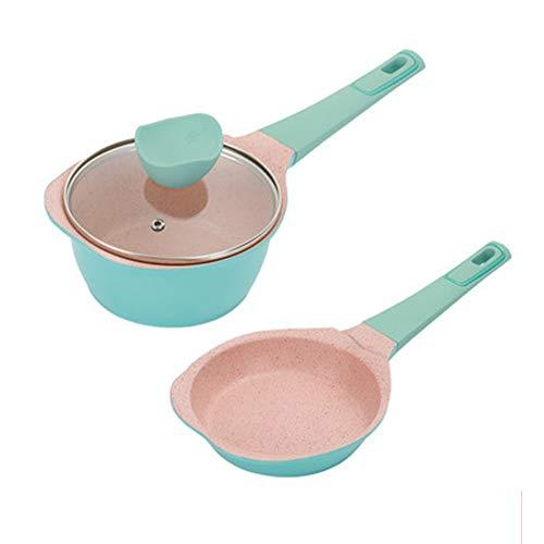 Cacerola versátil con tapa Maifan Stone Olla de sopa antiadherente Mini sartén Olla de inducción Universal Baby Food Supplement Pot 16cm-blue
