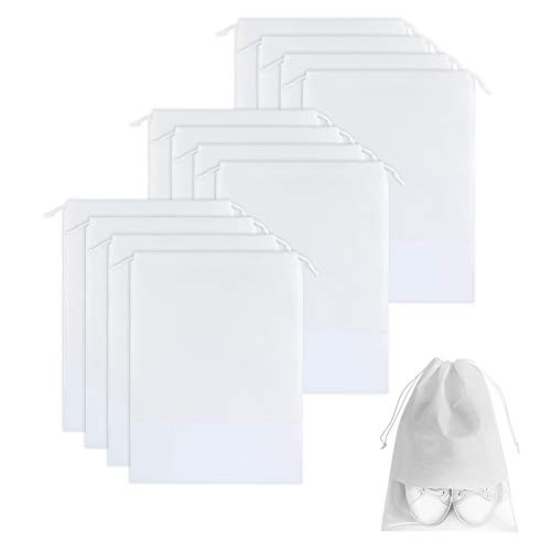 Huiyoo 12 Stuks Draagbare Reisschoenen Tassen, Grote Trekkoord Schoenen Pouch Opslag Organizer Tassen met Clear Transparant Raam voor Mannen en Vrouwen, H01