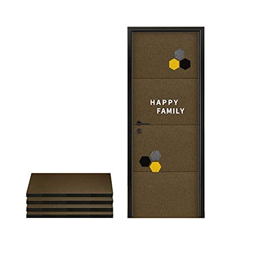 ROKKPSE 4 Pack Paneles Acústicos,100 * 50cm Autoadhesivo Azulejos acústicos Pared,Insonorizar Pegatinas para Puerta Casa Decoración Cuarto Silenciador Paneles acústicos Puertas(Color:Caqui)