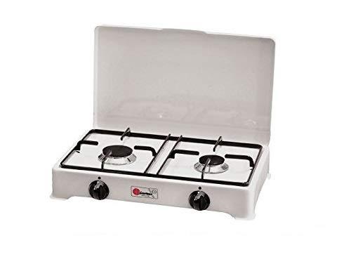 Réchaud de table Parker 2 feux Alimentation gaz GPL (GAS dans les bouteilles) Usage extérieur 2002CGP + Kit régulateur de fixation italienne