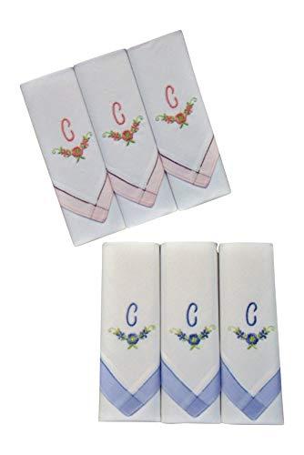 2 x 3 Stück Damen-Monogrammtaschentücher | Baumwolle mit farbiger Satinkante | Im Klarsichtkanton | In rosa und hellblau | Freie Monogrammwahl (C)