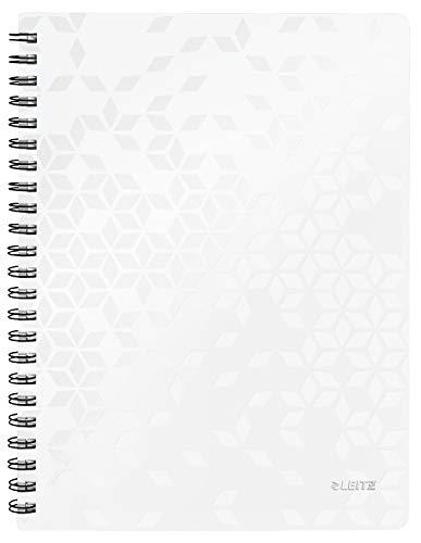 Leitz WOW Collegeblock in A4 Format, 80 Blatt, Liniert, Elfenbeinfarbiges Papier (80 g/m2), Spiralbindung, Perlweiß, WOW, 46370001