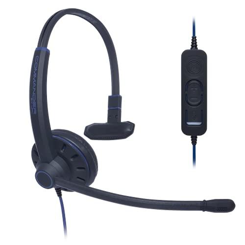 JPL -Commander-1 Universal Plug and Play, USB-A Profesional Monoaural con Cable Auriculares con Micrófono de Cancelación de Ruido Surround Shield - Negro