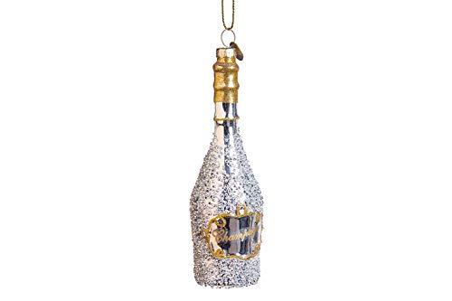 Hotex Weihnachtskugel/Champagner Flasche / 16 cm / 100% Glas/Christbaumschmuck/Anhänger/Christbaumkugel