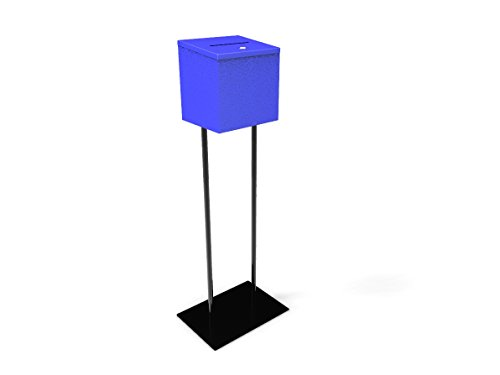 FixtureDisplays Blue Metal Ballot Box Donation Box Suggestion Box with Black Stand 11064+10918-BLUE
