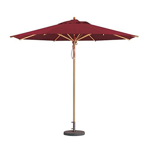 Weishäupl Klassiker Sonnenschirm Ø300cm, Bordeaux Acryltuch H 273cm mit Flaschenzug ohne Schirmständer Gestell Massive Esche Ø5,3cm