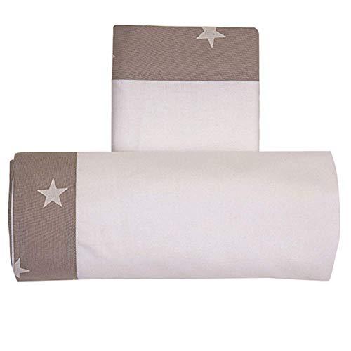 Draps Berceau Lella étoile blanc/taupe
