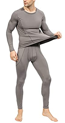 YIMANIE Men's Thermal Underwear Set Long Johns Ultra Soft Top and Bottom Light Grey