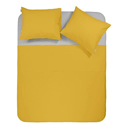 Y-NOT Funda de edredón Lisa con Fundas de Almohada, 135 x 220 cm, Color Amarillo